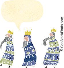 retro cartoon three kings with speech bubble