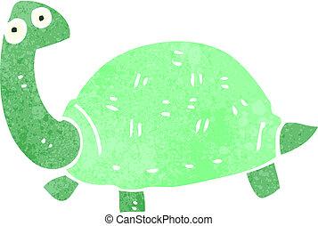 retro cartoon tortoise - Retro cartoon illustration. On...
