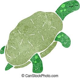 retro cartoon turtle - Retro cartoon illustration. On plain...