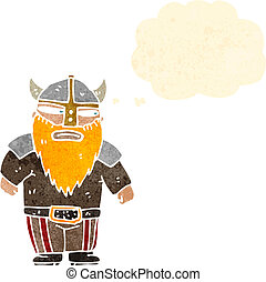 retro cartoon viking with thought bubble