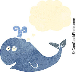 retro cartoon whale with thought bubble