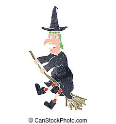 retro cartoon witch flying on broom