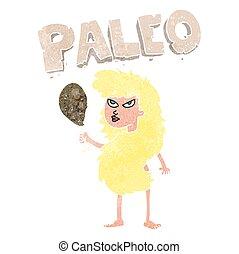 retro cartoon woman on paleo diet