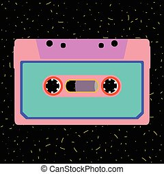 Retro cassette in flat style