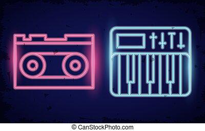 retro cassette neon lights icons vector illustration design
