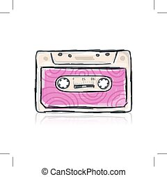 Retro cassette, sketch for your design