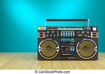 Retro cassette tape recorder on wooden table 3d