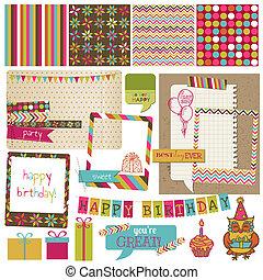 retro, celebración cumpleaños, diseñe elementos, -, para, álbum de recortes, invitación, en, vector
