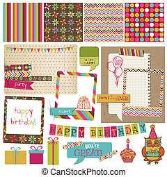 retro, celebrazione compleanno, disegni elementi, -, per,...
