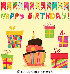 retro, celebrazione compleanno, elementi