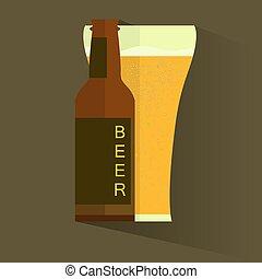 retro, cerveza, vector, poster., retro, etiqueta, o, bandera, design., vector, viejo, papel, textura, alimento y bebida, plano de fondo, concept.
