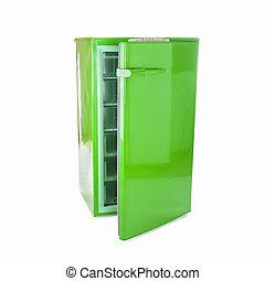 retro, chłodnia, zielony