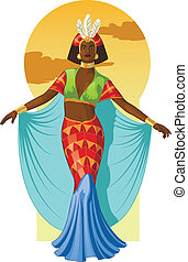 Retro character attractive afroamerican actress drawing with colored line-art