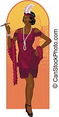 Retro character attractive afroamerican starlet drawing with colored line-art