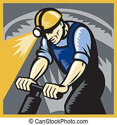 retro, charbon, foret, pneumatique, woodcut, forage, mineur