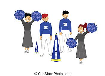 retro cheerleaders