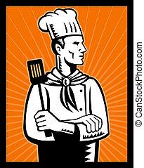 Retro Chef cook holding spatula - illustration of a Retro...
