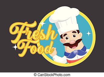 Retro Chef mascot Vector Illustration background