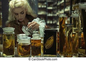 Retro chemist making an experiment - Retro chemist making an...