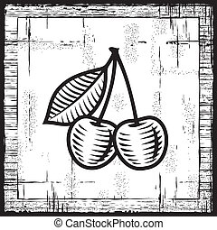 Retro cherries on wooden background. Black and white vector illustration in woodcut style.