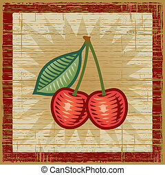 Retro cherries on wooden background. Vector illustration in woodcut style.