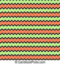 Retro chevron pattern background with green and orange colors.