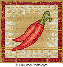 Retro chili peppers on wooden background. Vector...
