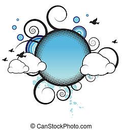 retro, chorągiew, z, chmury