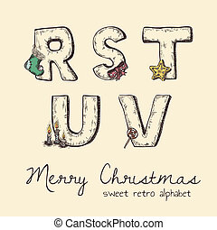 retro christmas alphabet - r, s, t, u, v