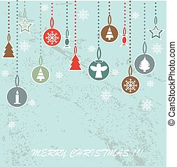 Retro Christmas background with decorative balls