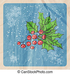 Retro Christmas background with Holly berry, falling snow and old crumpled paper texture