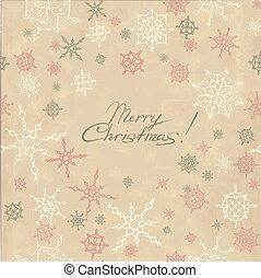 Retro christmas background with snowflakes