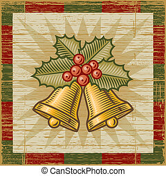 Retro Christmas bells on wooden background. Vector...