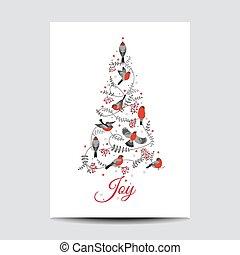 Retro Christmas Card - Birds on Christmas Tree - for invitation, congratulation in vector