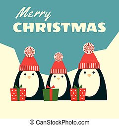 retro christmas card three penguins square