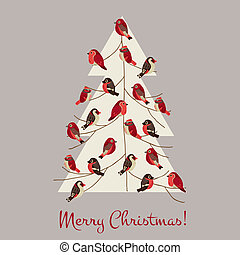 Retro Christmas Card - Winter Birds on Christmas Tree - for invitation, congratulation in vector