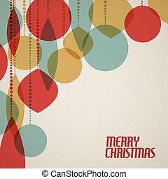 Retro Christmas card with christmas decorations