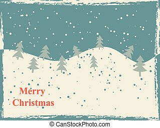 Retro Christmas card with snow hills and trees