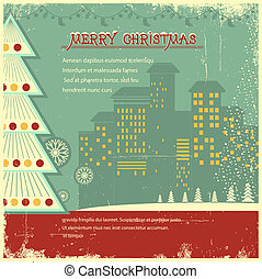 Retro christmas card.Vector city in holiday on old background for text