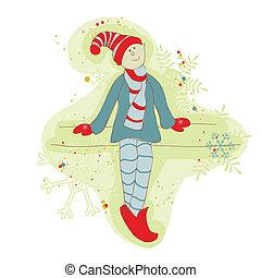 Retro Christmas Elf Card - for scrapbook, design, invitation, greetings