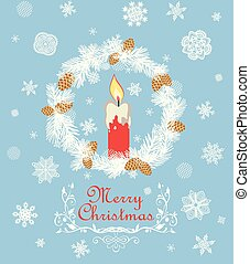 Retro Christmas greeting card with cut out paper fir wreath, red candle, snowflakes and golden fir tree cone