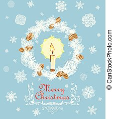 Retro Christmas greeting card with cut out paper fir wreath, snowflakes, golden fir tree cone and candle