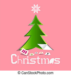 Retro Christmas Greeting Card with Paper Cut Tree on Pink Background
