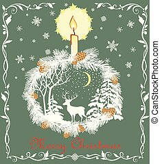Retro Christmas greeting pastel green card with cut out paper fir wreath, snowflakes, candle, deer and winter landscape