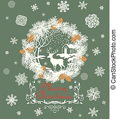 Retro Christmas greeting pastel green card with cut out paper fir wreath, snowflakes, golden cone, deer and winter landscape