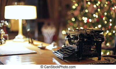 Retro Christmas interior with old typewriter