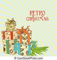 retro, christmas nuværende, vektor, illustration