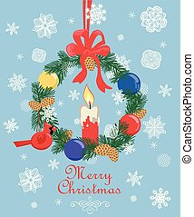 Retro Christmas pastel greeting card with cut out paper fir wreath, fir tree cone, snowflakes, hanging northern cardinal bird toy and ball