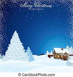 Retro Christmas Scene. Winter Landscape with House