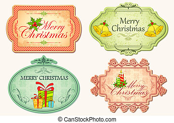 Retro Christmas Sticker - illustration of christmas sticker...
